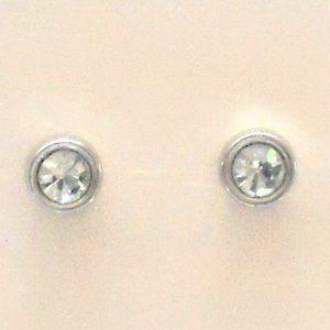 Vintage Silver Tone Round Simulated Diamond Studs